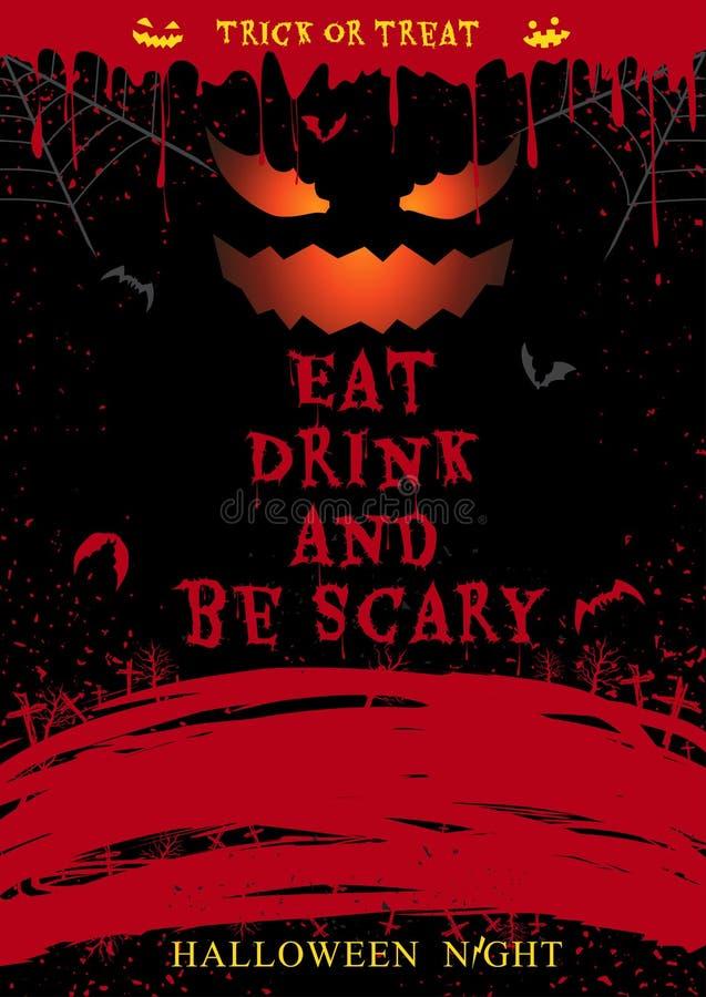 Плакат партии хеллоуина ест питье и страшен бесплатная иллюстрация
