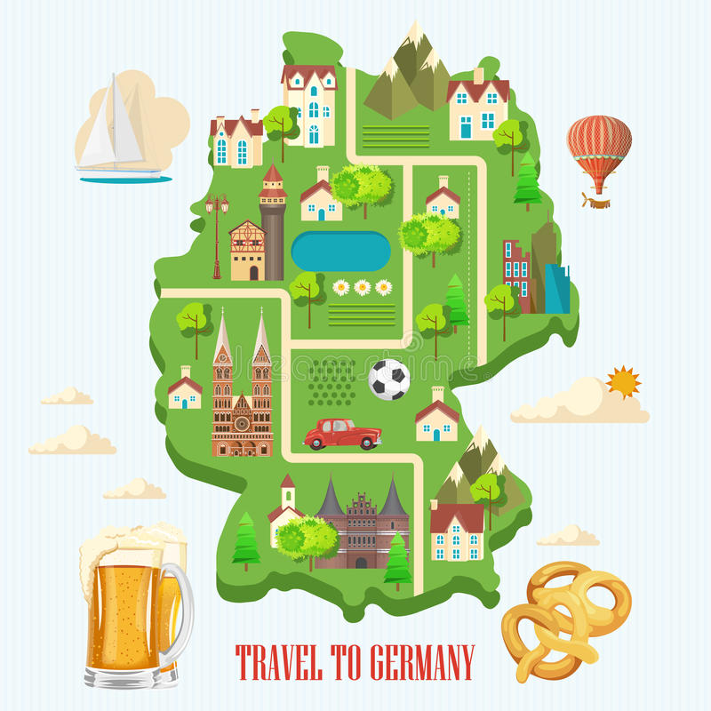 Плакат перемещения Германии Концепция архитектуры отключения Touristic предпосылка с ориентир ориентирами, замками, памятниками бесплатная иллюстрация