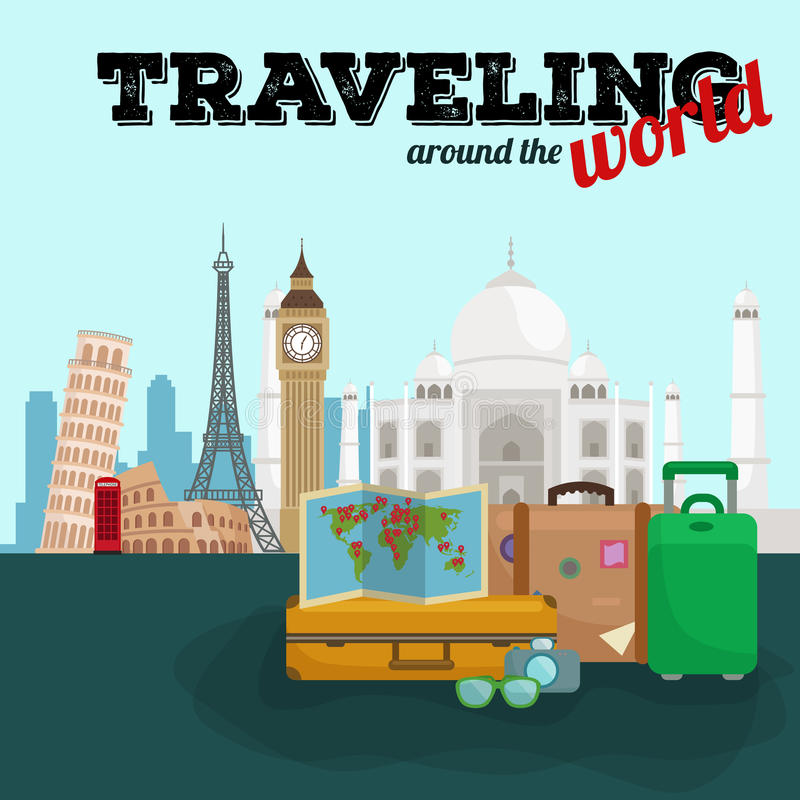 Плакат перемещения по всему миру Туризм и каникулы, мир земли, путешествов глобальный, иллюстрация вектора Перемещение мира иллюстрация вектора