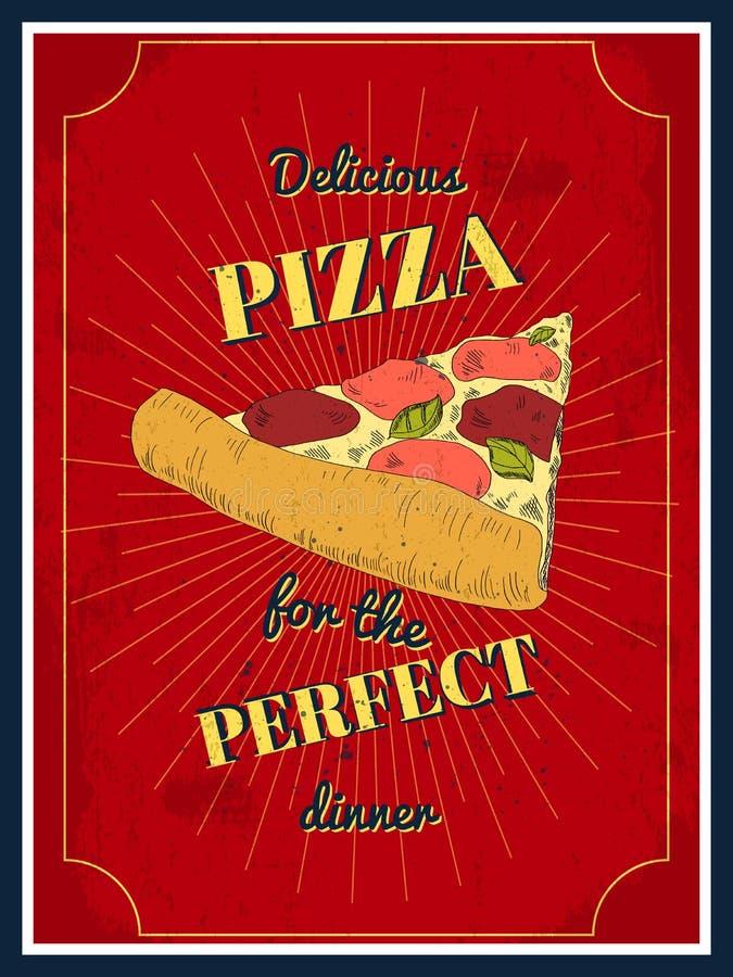 Плакат пиццы бесплатная иллюстрация
