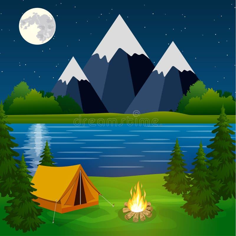 Плакат показывая место для лагеря с лагерным костером иллюстрация вектора