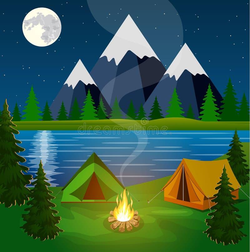 Плакат показывая место для лагеря с лагерным костером иллюстрация штока