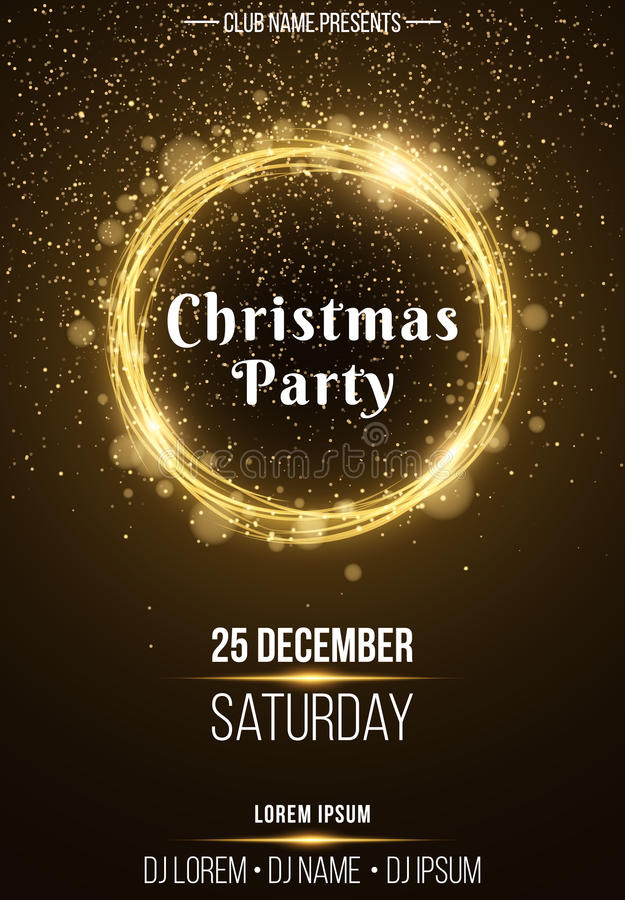 Плакат предпосылки вертикальный для рождественской вечеринки Сияющее золотое знамя с золотыми желтыми светами конспекта пыли праз иллюстрация штока