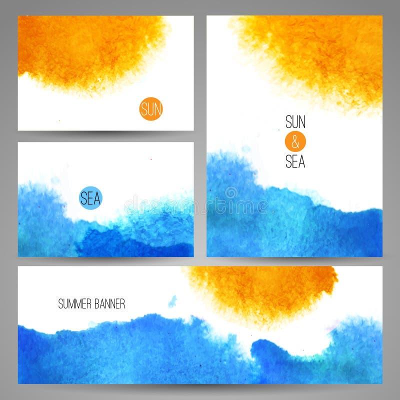 Плакат предпосылки моря акварели или шаблон карточки бесплатная иллюстрация