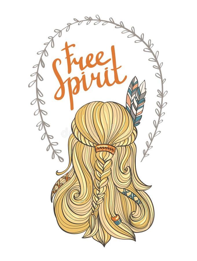 Плакат при индийская девушка и стильное boho помечая буквами свободный дух иллюстрация вектора
