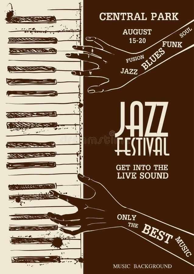 Плакат при человеческие руки играя рояль иллюстрация штока