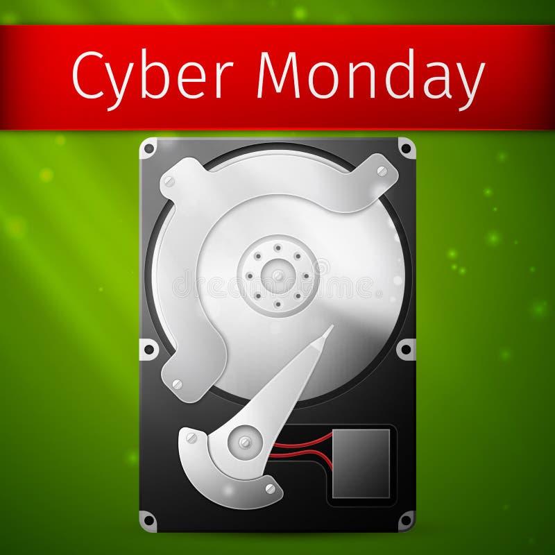 Плакат продажи понедельника кибер, раскрытый диск жесткого диска бесплатная иллюстрация