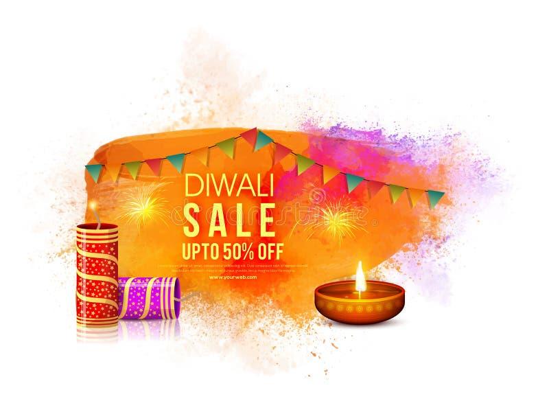 Плакат продажи Diwali, знамя или дизайн рогульки иллюстрация вектора