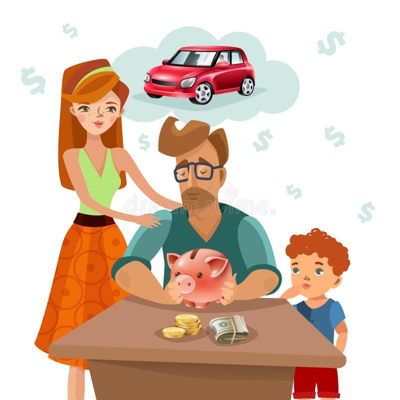 Плакат плана финансов семейного бюджета плоский иллюстрация вектора