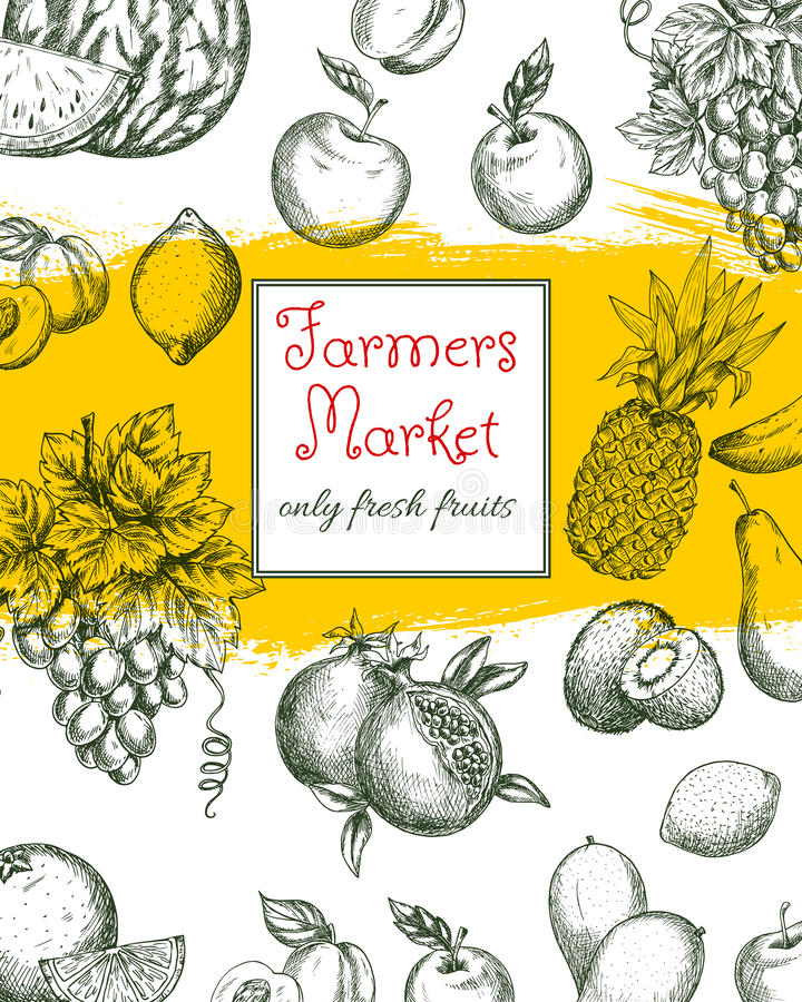 Плакат плодоовощ естественных плодоовощей рынка фермы бесплатная иллюстрация