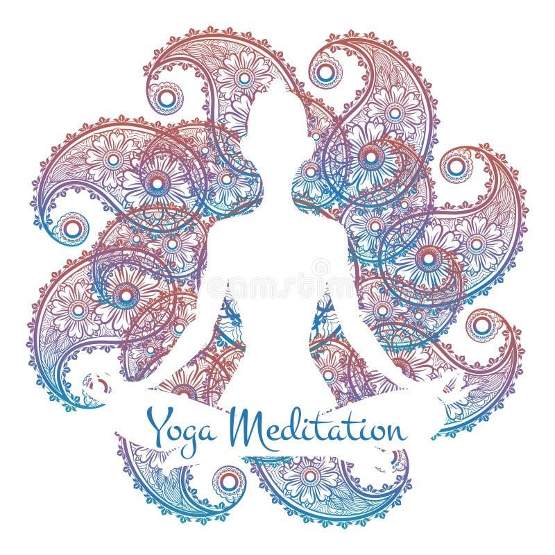 Плакат раздумья йоги иллюстрация вектора
