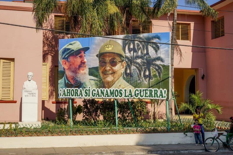 Плакат Рауля и Фиделя Кастро стоковые фотографии rf