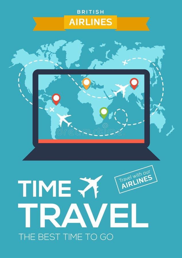 Плакат рекламы, знамя авиакомпании Иллюстрация с компьтер-книжкой, карта мира, отметки карты и полет самолета иллюстрация штока