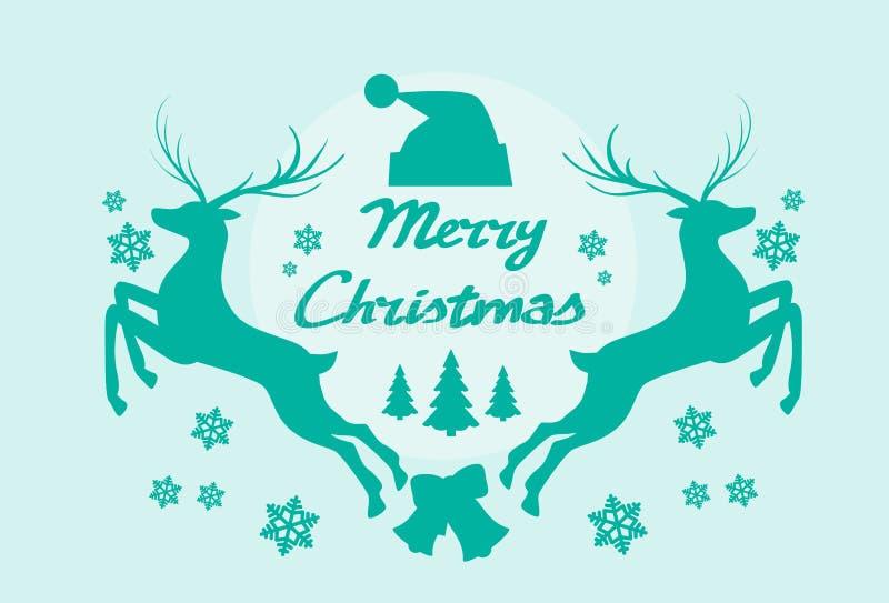 Плакат рождества Mery силуэта северного оленя иллюстрация штока