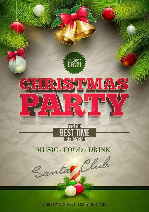 Плакат рождественской вечеринки иллюстрация штока