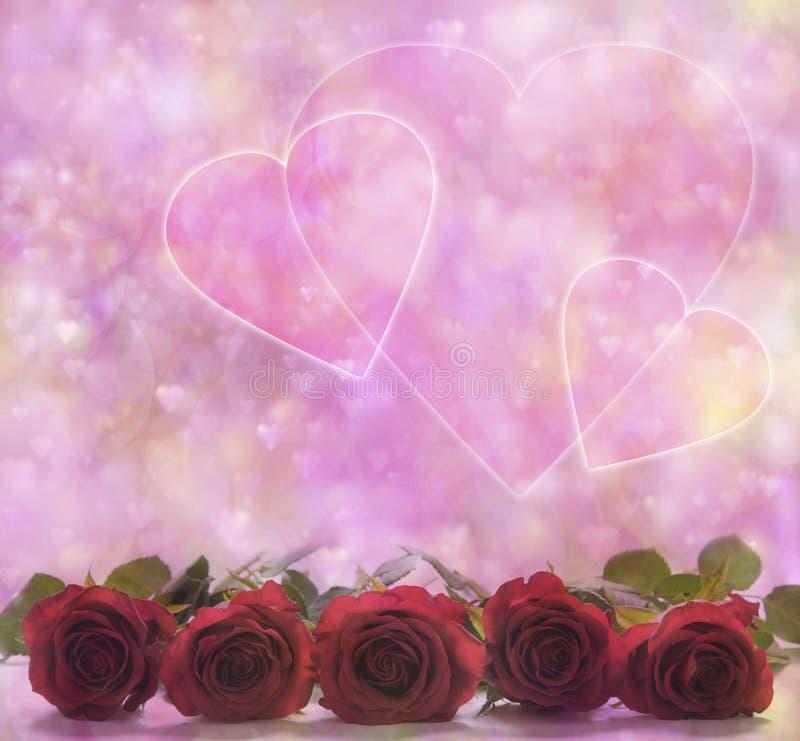 Плакат роз и сердец валентинки стоковые изображения