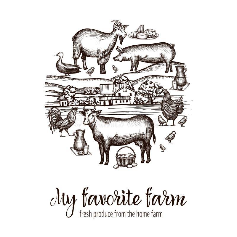 Плакат рынка фермеров бесплатная иллюстрация