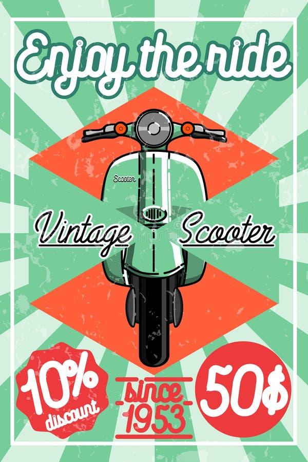 Плакат самоката цвета винтажный бесплатная иллюстрация