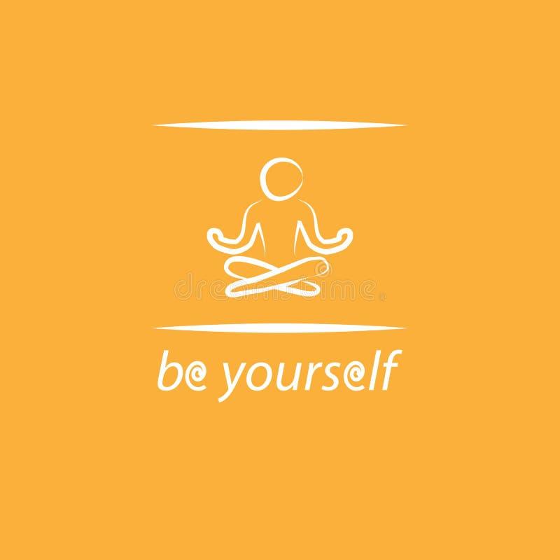 Плакат себя мотивировки с текстом и силуэт йоги стоковая фотография rf