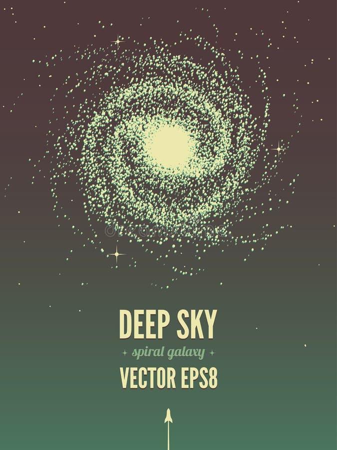 Плакат спиральной галактики иллюстрация штока