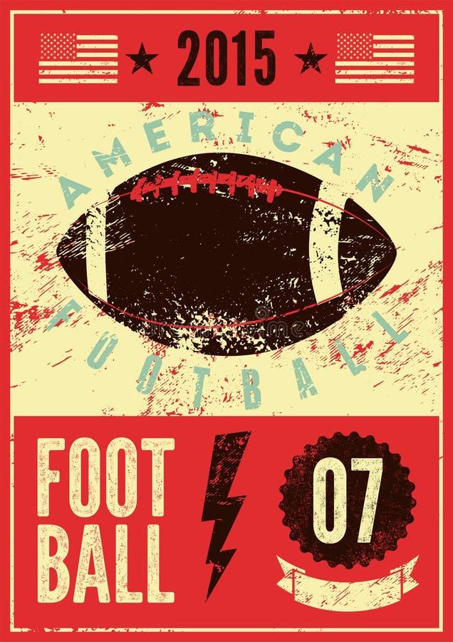 Плакат стиля grunge американского футбола типографский винтажный вектор иллюстрации ретро иллюстрация штока