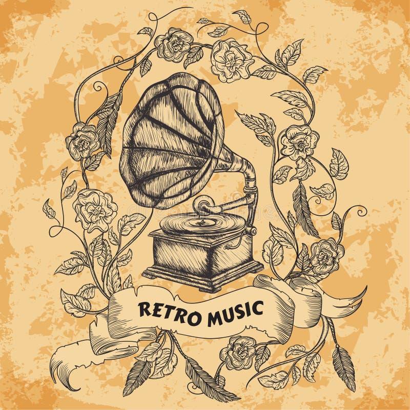 Плакат с винтажным патефоном, розами, листьями, пер и знаменем ленты на постаретой бумажной предпосылке Ретро нарисованное рукой  иллюстрация штока