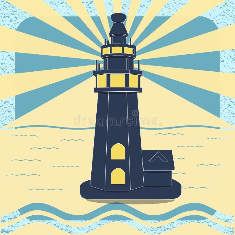 Плакат с маяком в винтажном векторе стиля иллюстрация штока