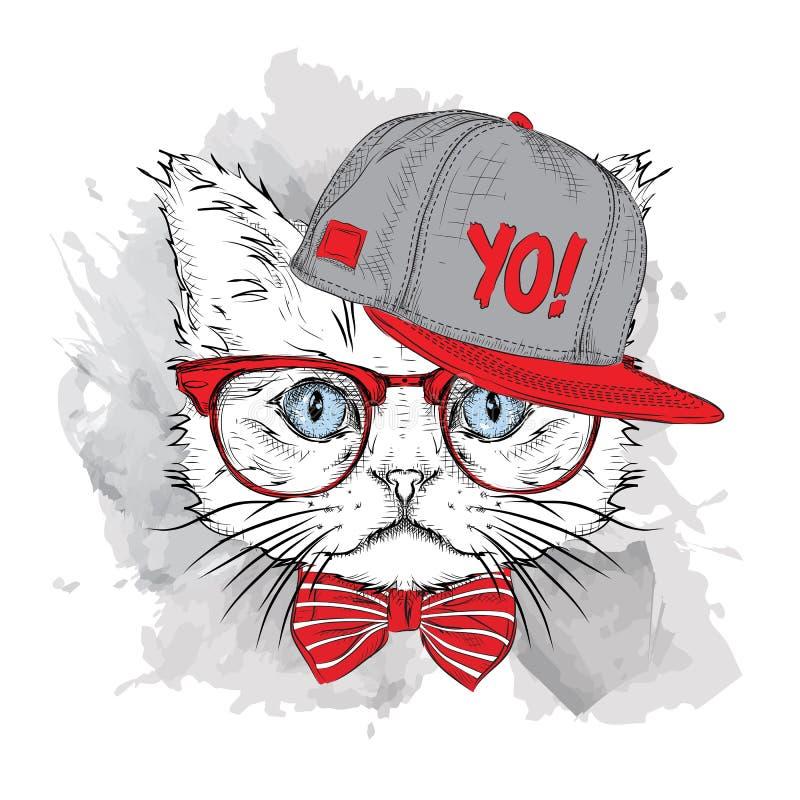 Плакат с портретом кота изображения в шляпе бедр-хмеля также вектор иллюстрации притяжки corel иллюстрация штока