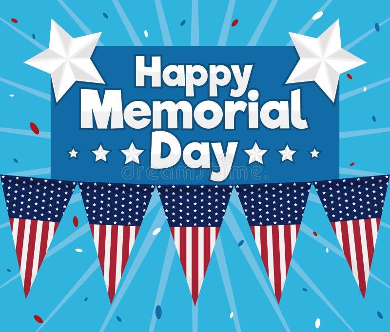 Плакат с приветствием для торжества Дня памяти погибших в войнах, иллюстрации вектора бесплатная иллюстрация