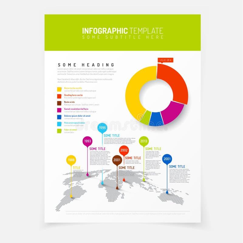 Плакат с простой картой мира infographic бесплатная иллюстрация