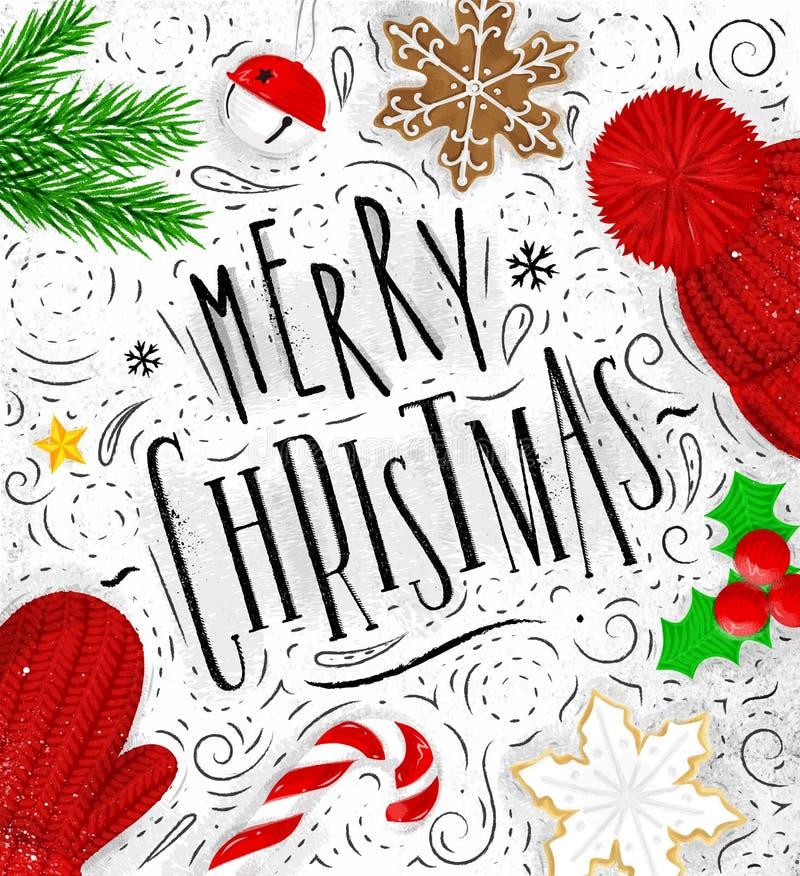 Плакат с Рождеством Христовым иллюстрация вектора