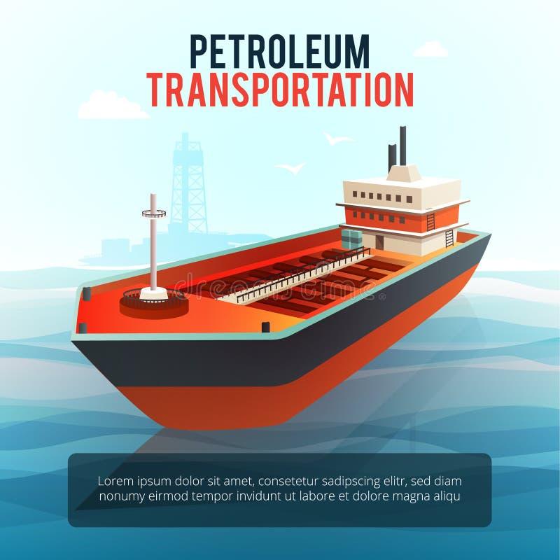 Плакат топливозаправщика транспорта нефти масла равновеликий иллюстрация штока