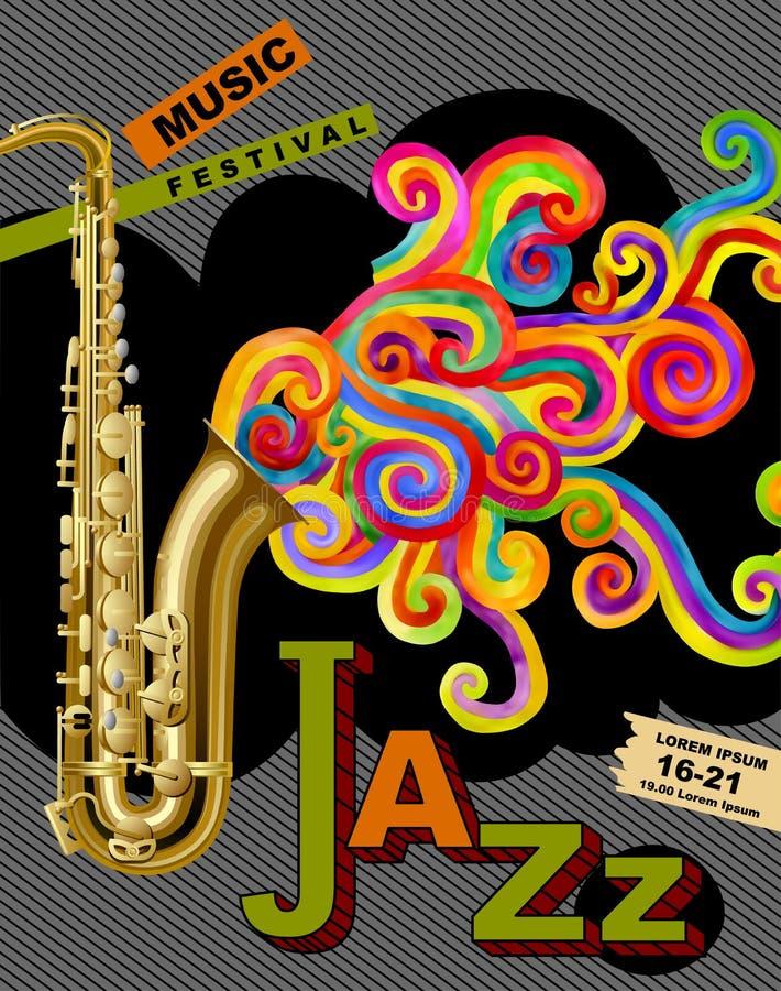 Плакат фестиваля джазовой музыки иллюстрация вектора