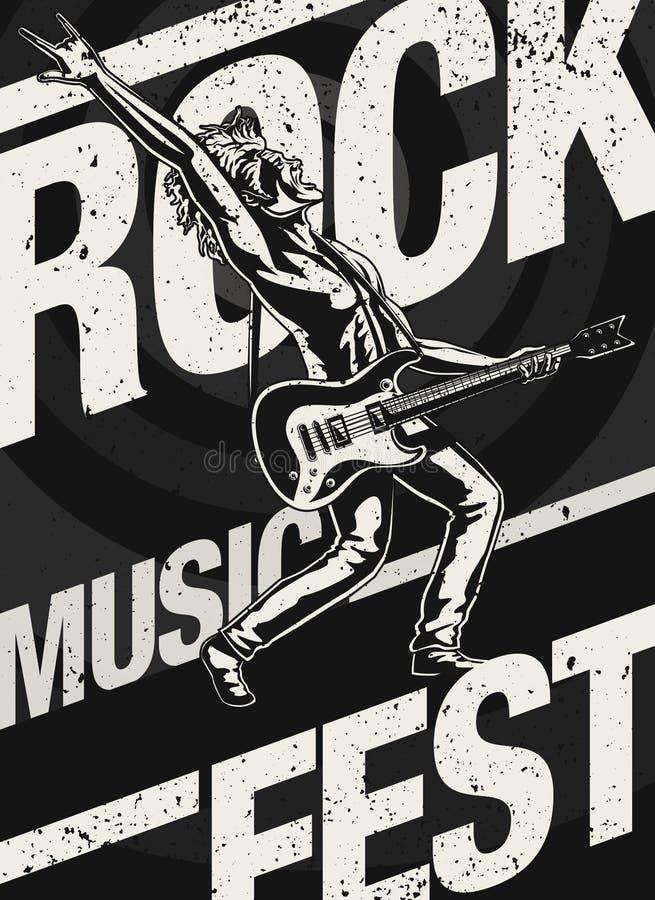 Плакат фестиваля рок-музыки бесплатная иллюстрация