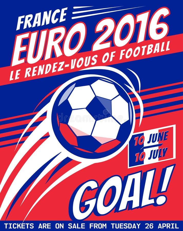 Плакат футбола с шариком ЕВРО Франция 2016 Брошюра вектора для игры спорта Чемпионат, лига Турнир футбола иллюстрация вектора