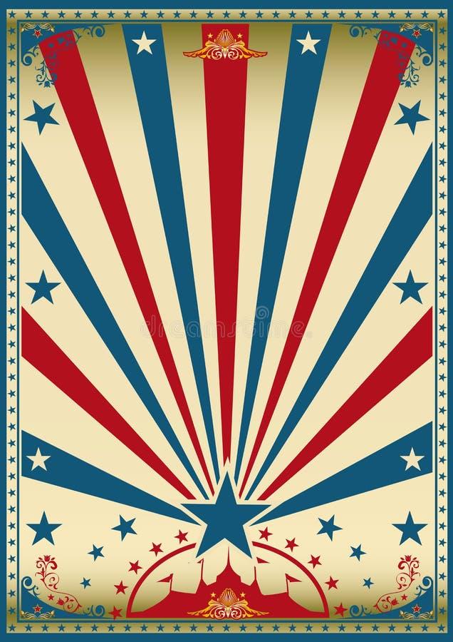 Плакат цирка винтажный красный голубой иллюстрация штока