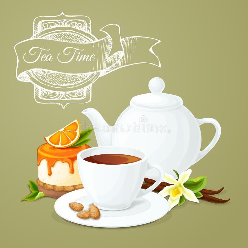 Плакат чаепития бесплатная иллюстрация