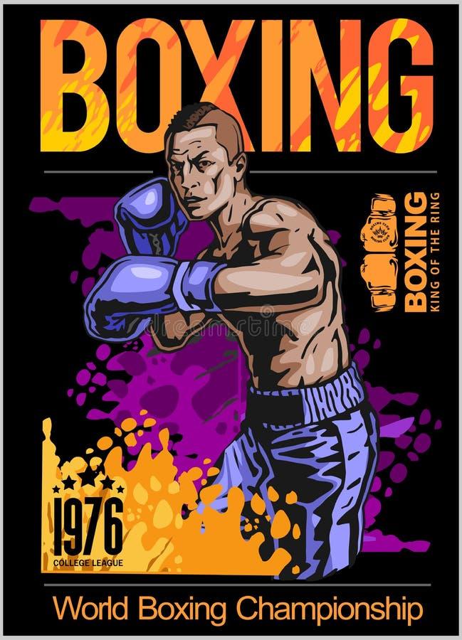 Плакат чемпиона бокса с боксером на черной предпосылке иллюстрация штока
