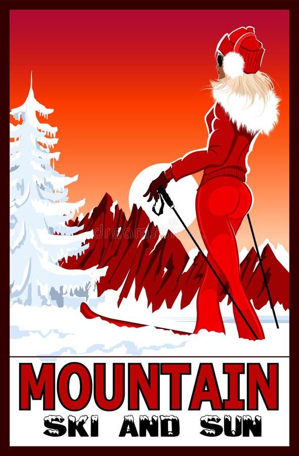 Плакат лыжи женщины практикуя в белых снежных горах иллюстрация штока