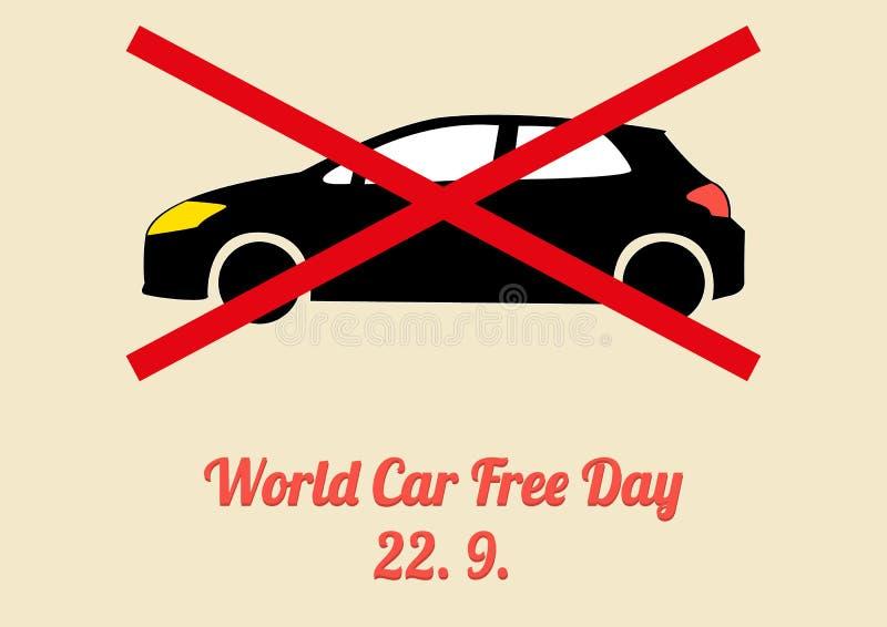 Плакат для ежегодного торжества нерабочего дня автомобиля мира - сентября иллюстрация вектора