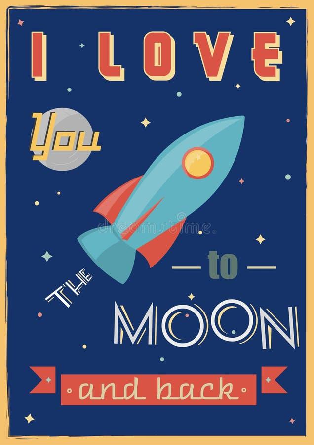 Плакат: Я тебя люблю к луне и задней части иллюстрация штока