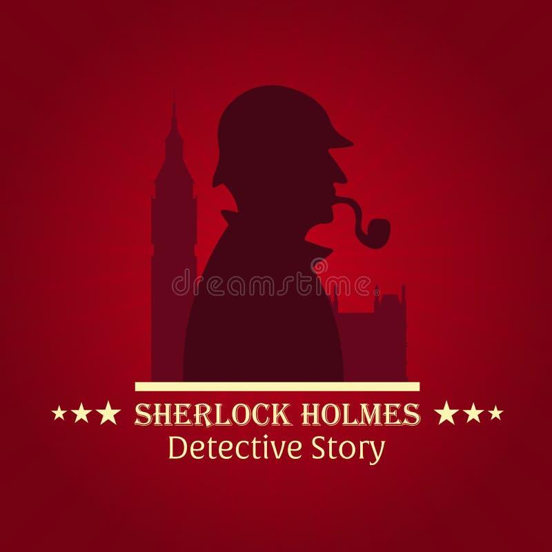 Плакат Sherlock Holmes Сыщицкая иллюстрация Иллюстрация с Sherlock Holmes Улица 221B хлебопека Лондон запрет большой иллюстрация штока