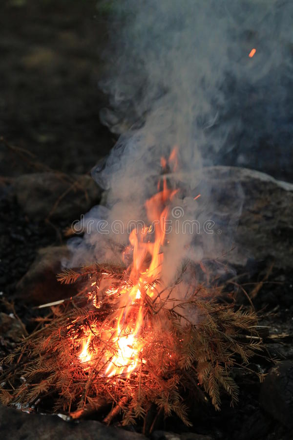Пламена и подъем дыма от огня стоковые фото