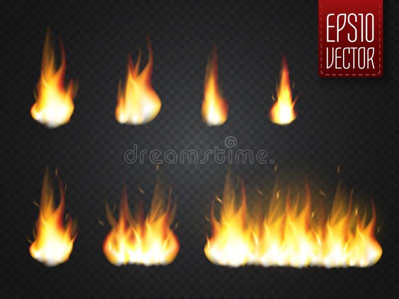 Пламена огня на прозрачной предпосылке Специальный эффект вектора реалистический иллюстрация вектора
