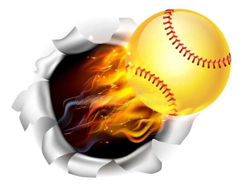 Пламенеющий шарик софтбола срывая отверстие на заднем плане иллюстрация вектора