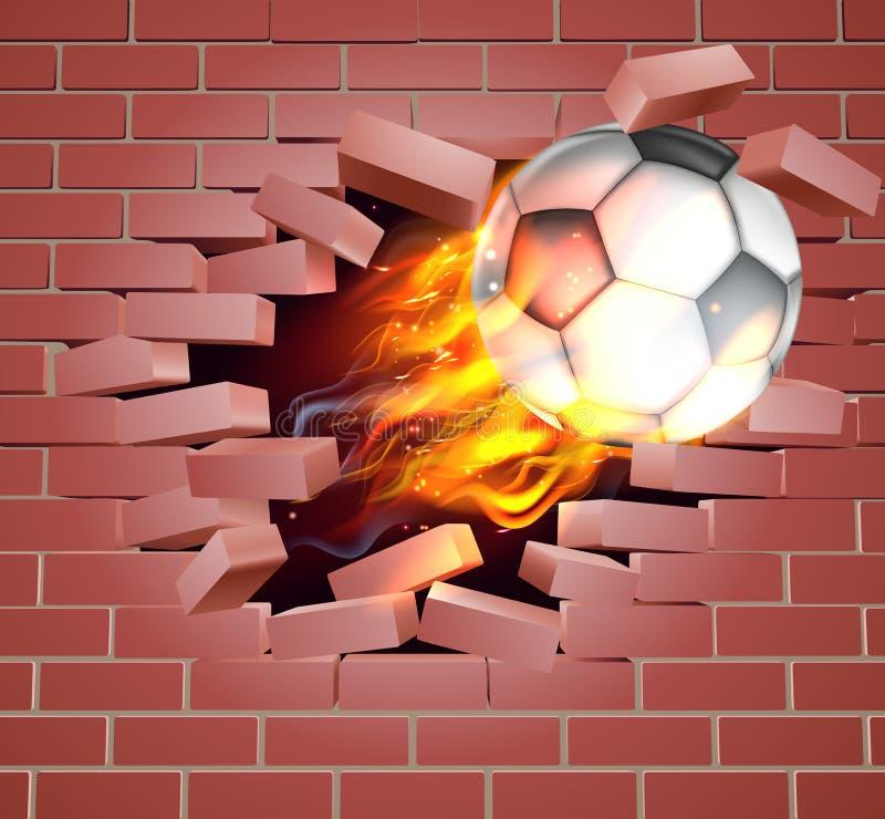 Пламенеющий шарик футбола футбола выходить кирпичная стена иллюстрация вектора