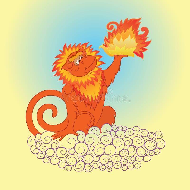 Пламенистая обезьяна 2 иллюстрация вектора