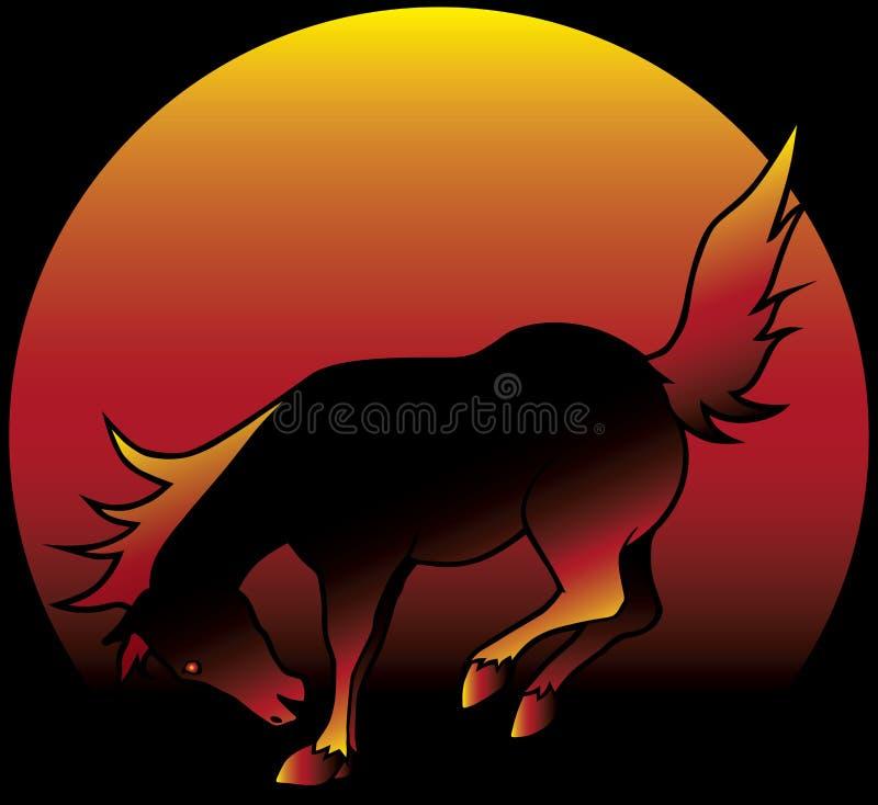 Пламенистая Bucking лошадь иллюстрация вектора