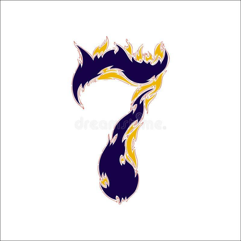 7 пламенистого шрифта голубой на белой предпосылке иллюстрация вектора
