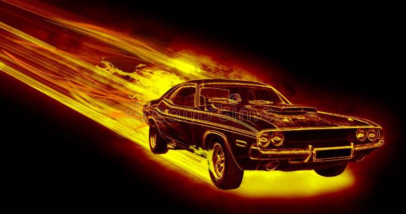 Пламенистый автомобиль иллюстрация штока